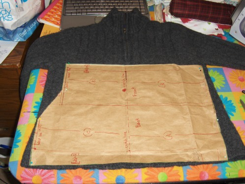 "Here I just laid the pattern on the sweater without any ""preparing"".  That way, I only had to cut it out once."